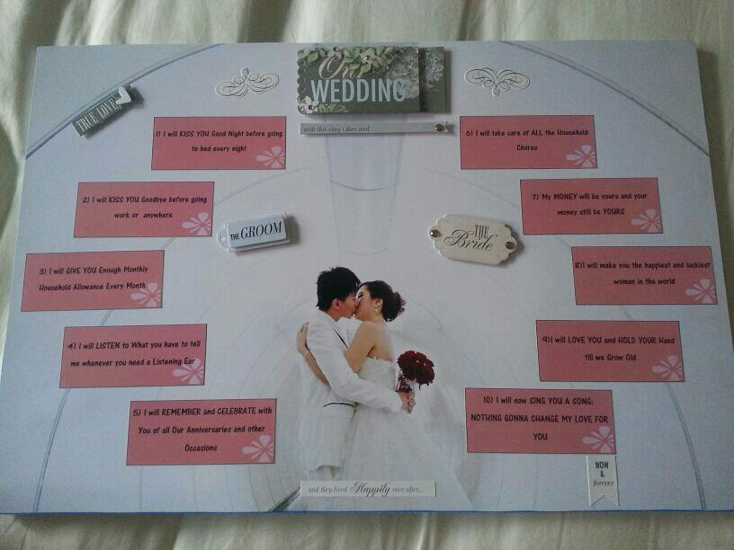 10 Promises Board for Gavin Tan & Pansy Quek. Congrats to the Newly Wed. =)